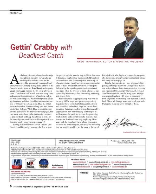 Maritime Reporter Magazine, page 6,  Feb 2015