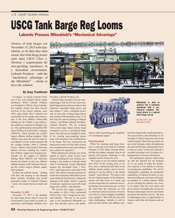Maritime Reporter Magazine, page 52,  Mar 2015