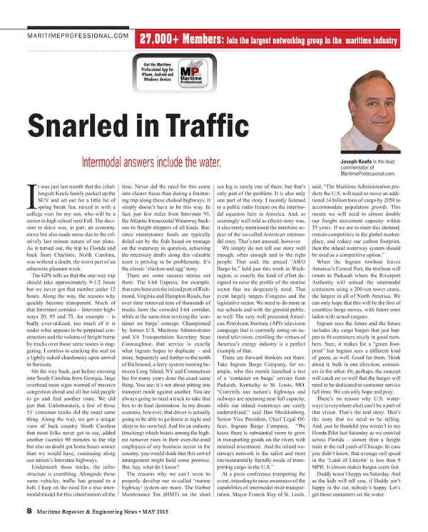 Maritime Reporter Magazine, page 8,  May 2015
