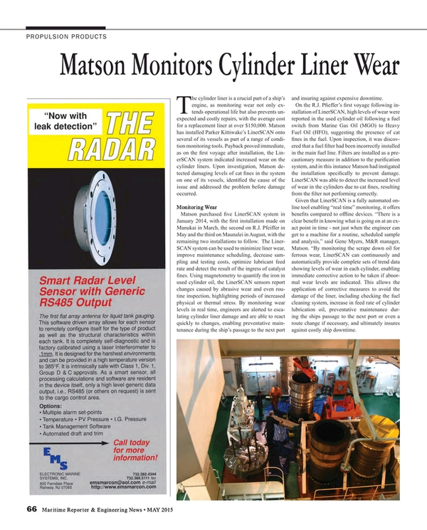 Maritime Reporter Magazine, page 66,  May 2015