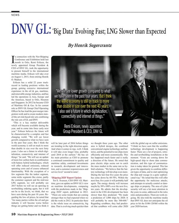 Maritime Reporter Magazine, page 10,  Jul 2015