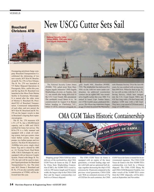 Maritime Reporter Magazine, page 14,  Aug 2015