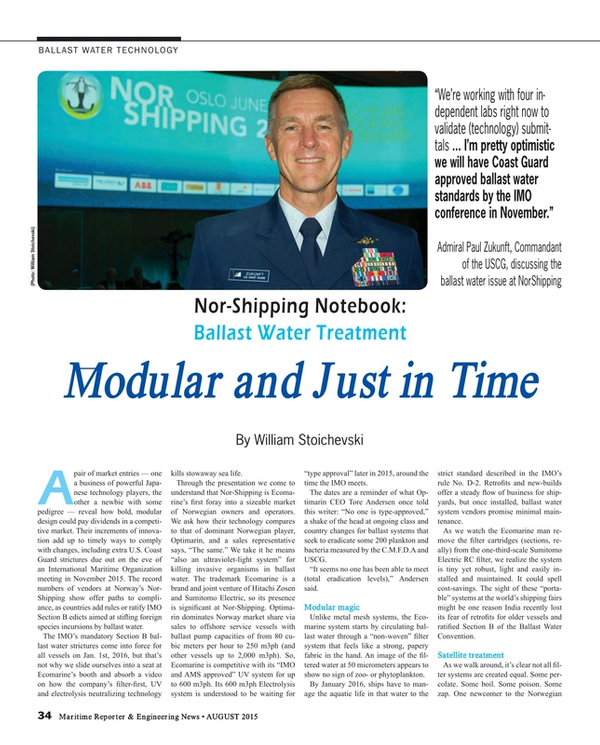 Maritime Reporter Magazine, page 34,  Aug 2015