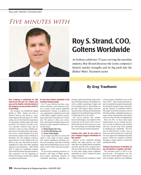 Maritime Reporter Magazine, page 36,  Aug 2015