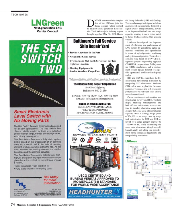 Maritime Reporter Magazine, page 74,  Aug 2015