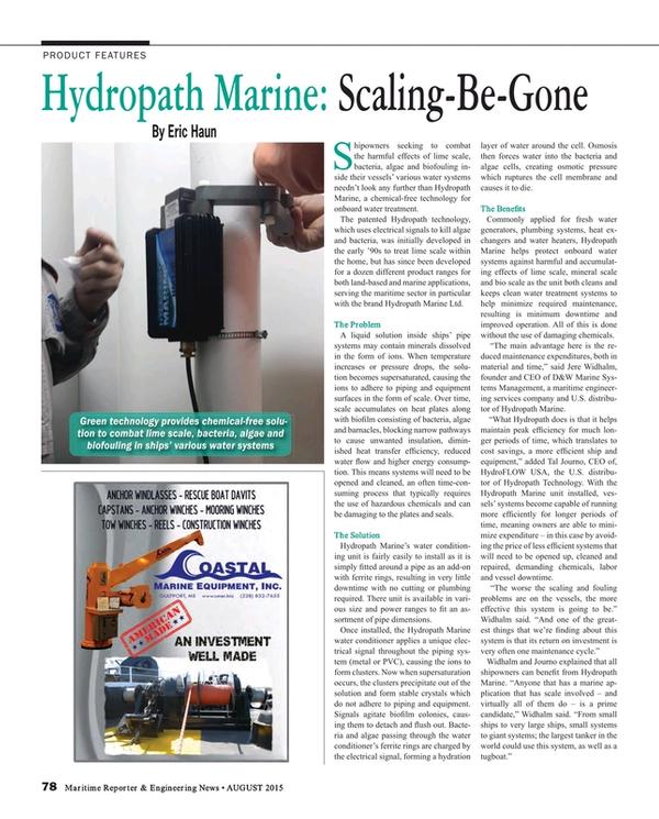 Maritime Reporter Magazine, page 78,  Aug 2015