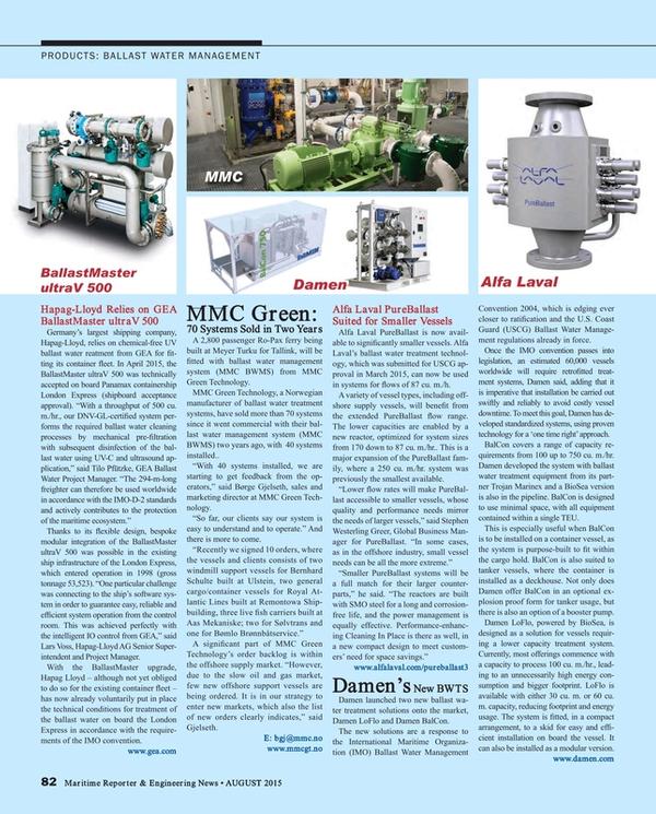 Maritime Reporter Magazine, page 82,  Aug 2015