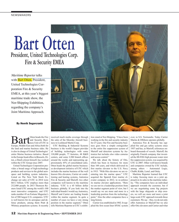 Maritime Reporter Magazine, page 12,  Sep 2015