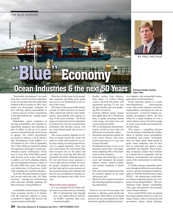 Maritime Reporter Magazine, page 24,  Sep 2015
