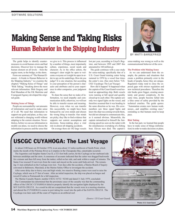 Maritime Reporter Magazine, page 14,  Oct 2015