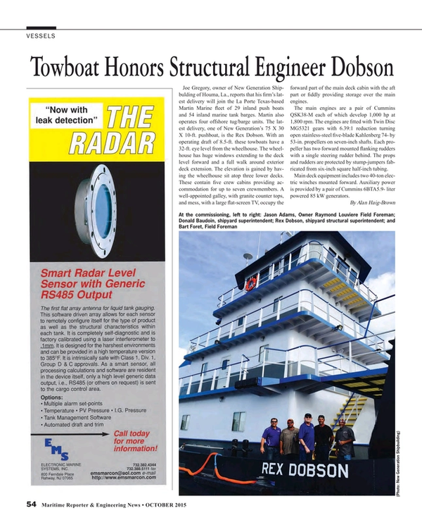 Maritime Reporter Magazine, page 54,  Oct 2015