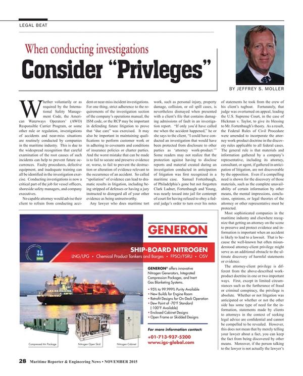 Maritime Reporter Magazine, page 28,  Nov 2015