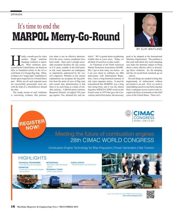Maritime Reporter Magazine, page 16,  Dec 2015