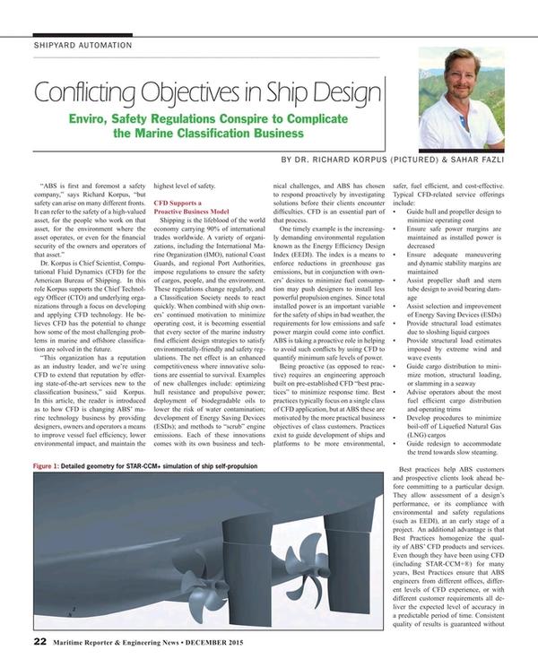 Maritime Reporter Magazine, page 22,  Dec 2015