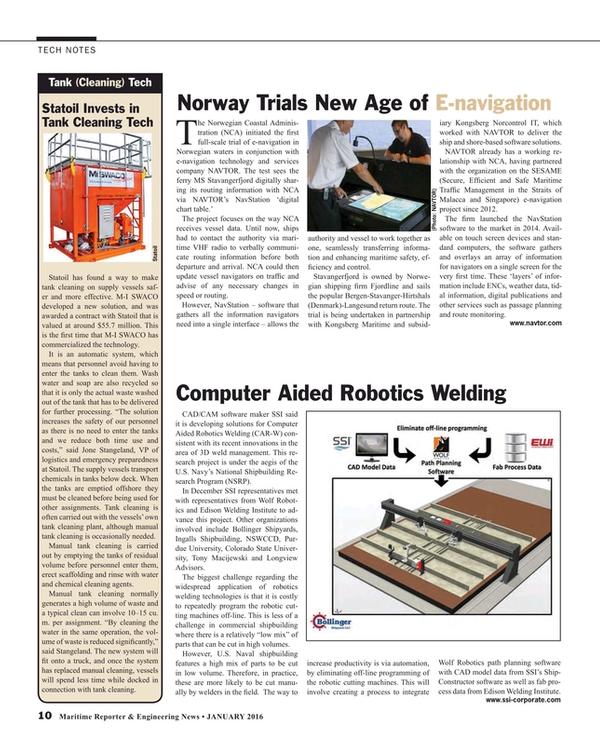 Maritime Reporter Magazine, page 10,  Jan 2016