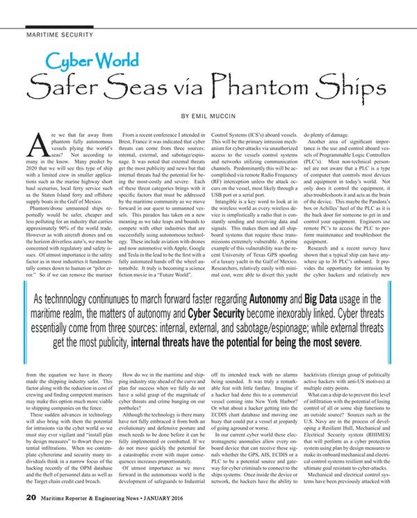 Maritime Reporter Magazine, page 20,  Jan 2016