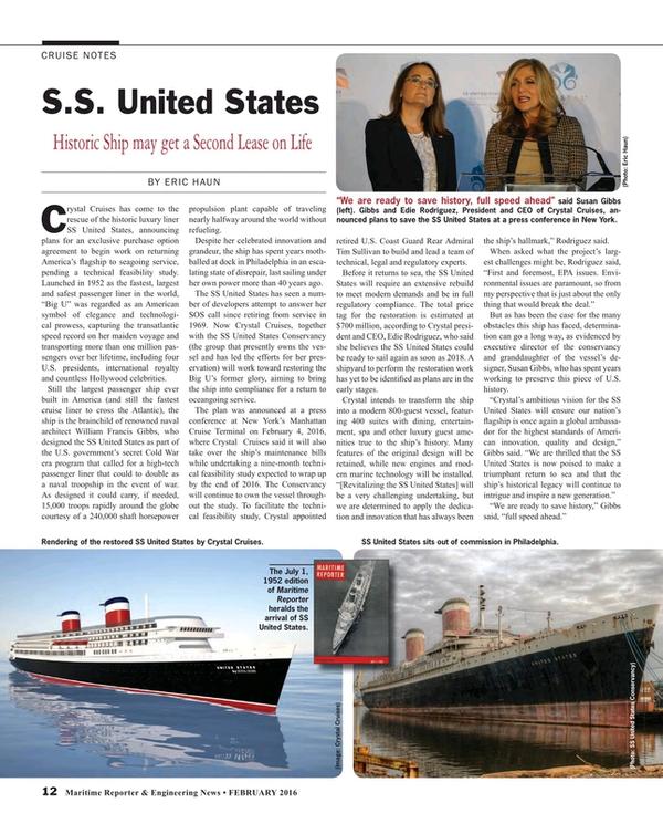Maritime Reporter Magazine, page 12,  Feb 2016