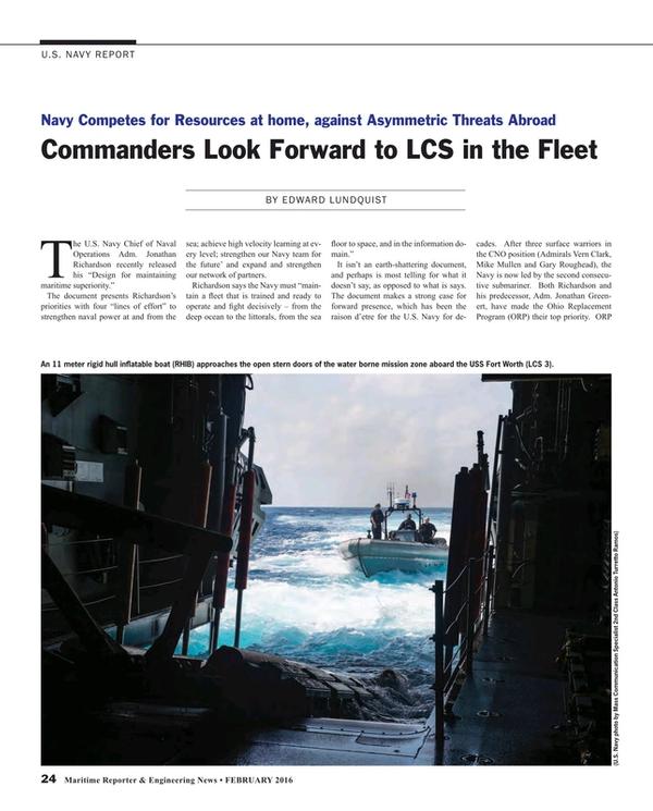 Maritime Reporter Magazine, page 24,  Feb 2016