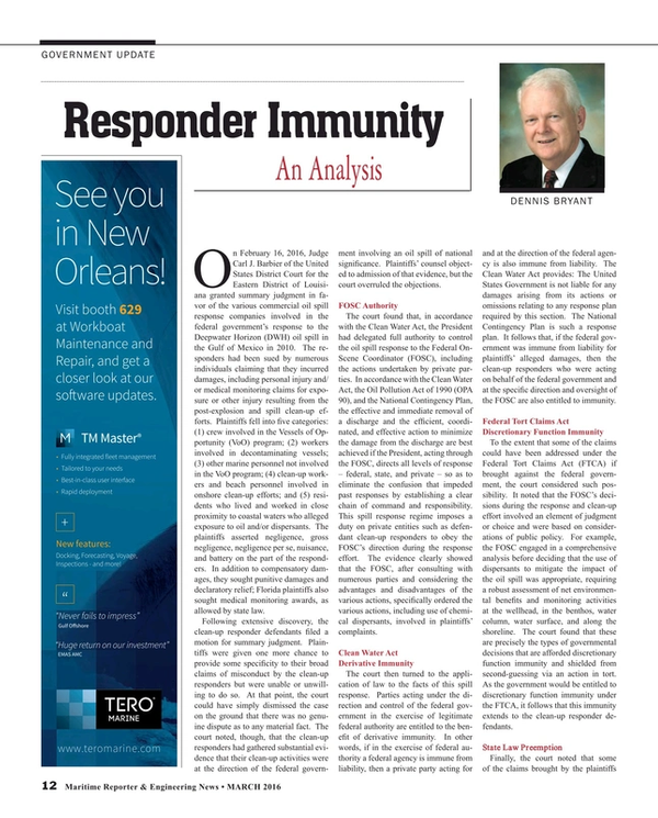 Maritime Reporter Magazine, page 12,  Mar 2016