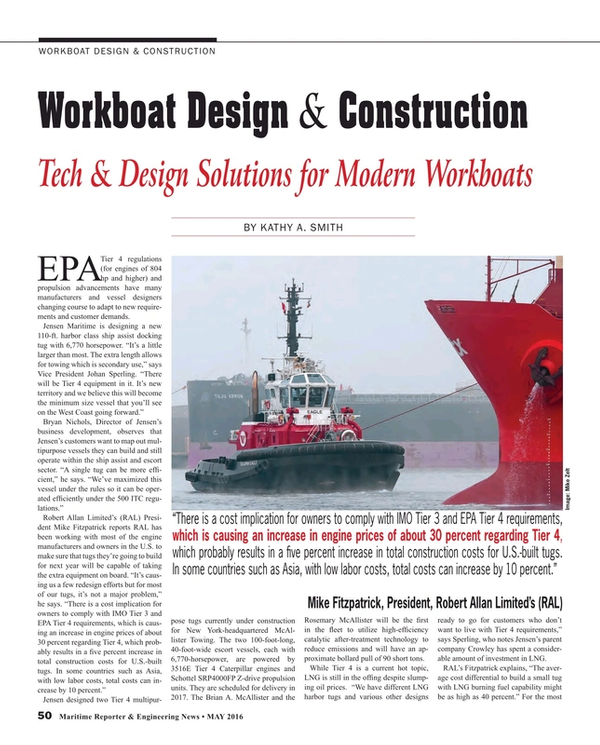 Maritime Reporter Magazine, page 50,  May 2016