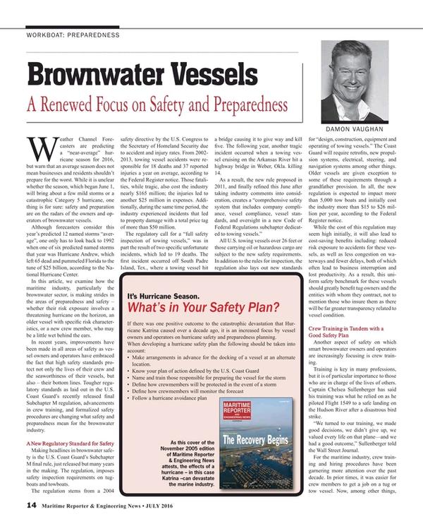 Maritime Reporter Magazine, page 14,  Jul 2016