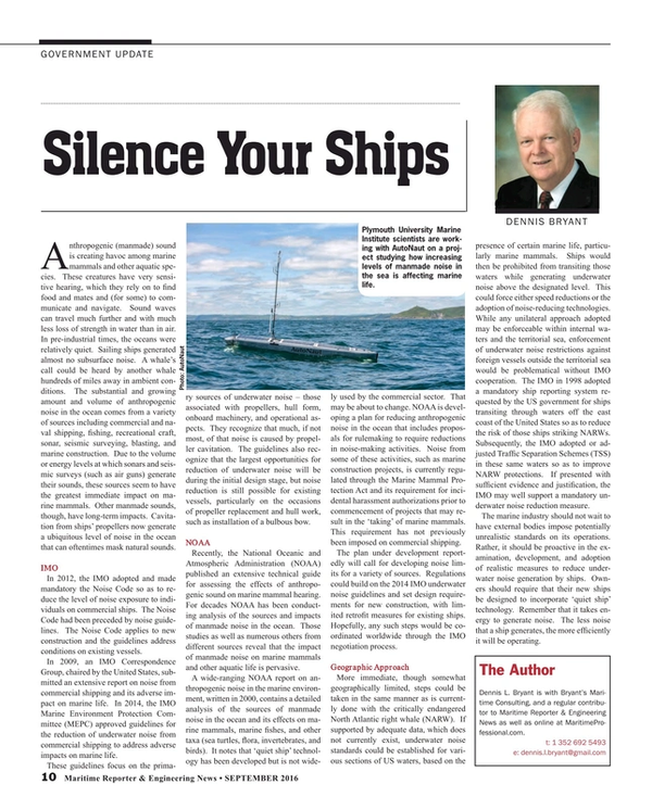 Maritime Reporter Magazine, page 10,  Sep 2016