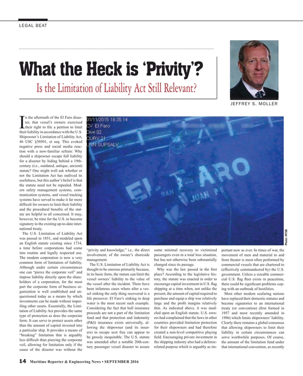 Maritime Reporter Magazine, page 14,  Sep 2016