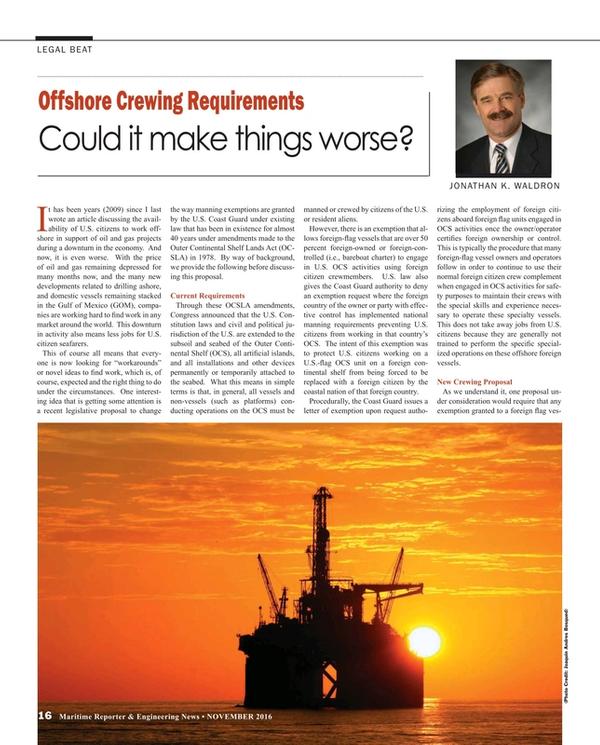 Maritime Reporter Magazine, page 16,  Nov 2016