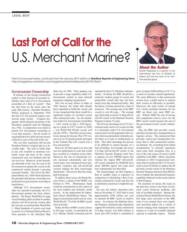 Maritime Reporter Magazine, page 16,  Feb 2017