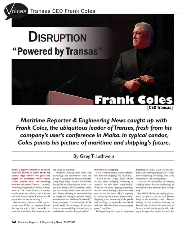 Maritime Reporter Magazine, page 62,  May 2017