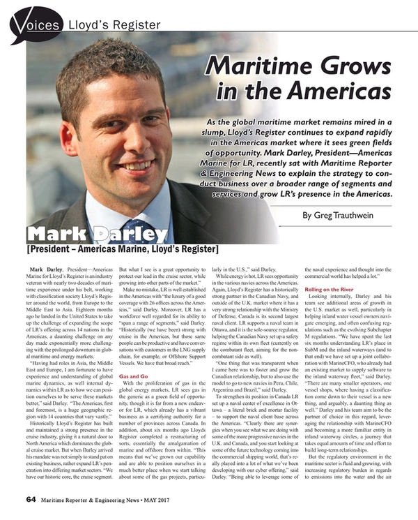 Maritime Reporter Magazine, page 64,  May 2017