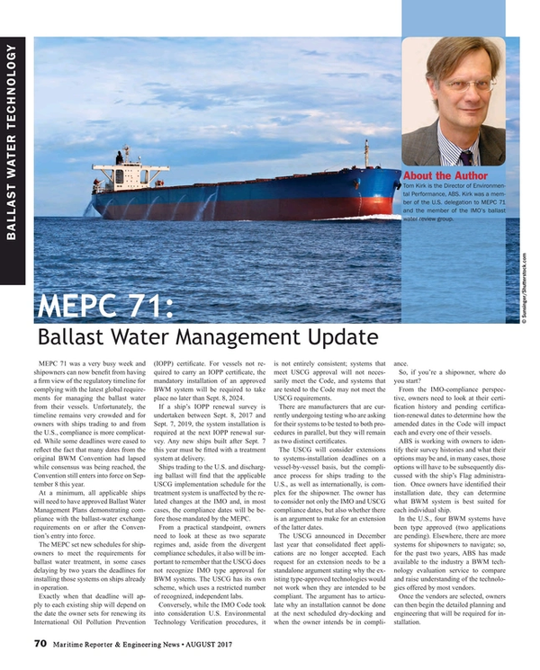 Maritime Reporter Magazine, page 70,  Aug 2017