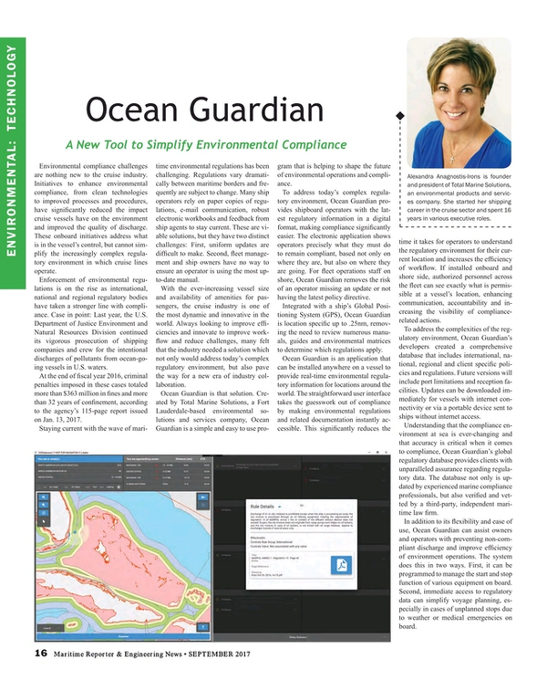 Maritime Reporter Magazine, page 16,  Sep 2017