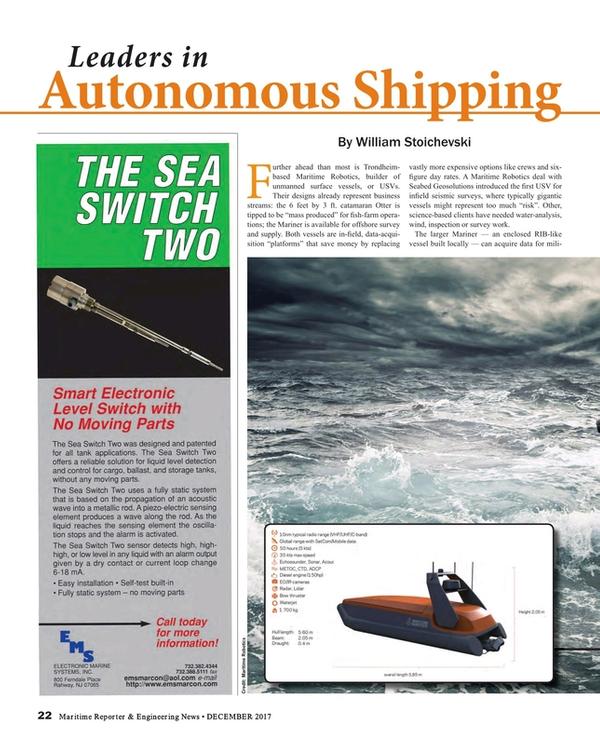 Maritime Reporter Magazine, page 22,  Dec 2017