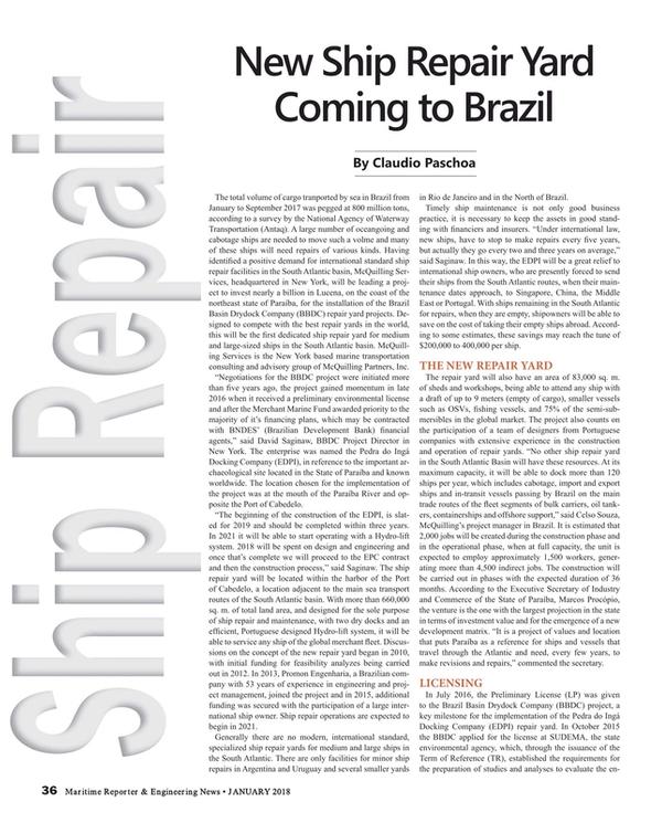 Maritime Reporter Magazine, page 36,  Jan 2018