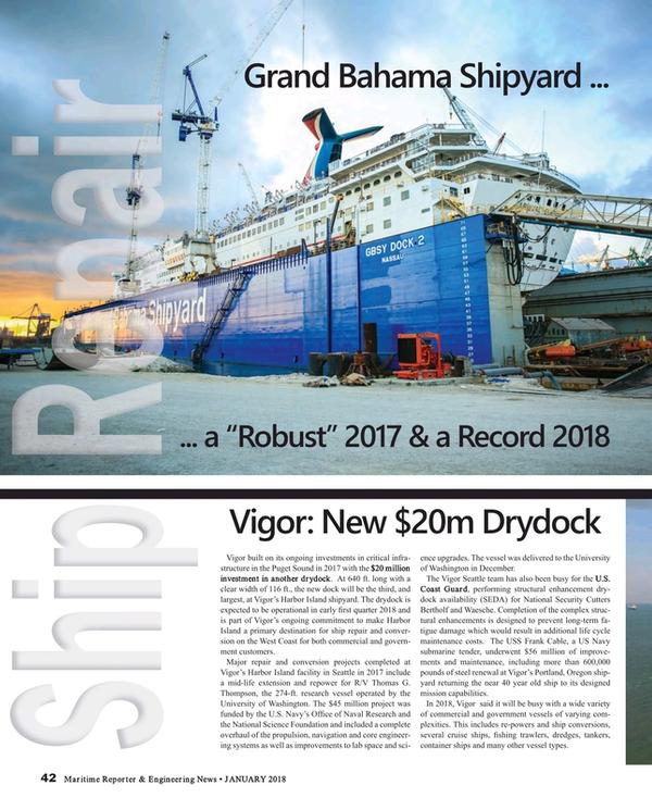 Maritime Reporter Magazine, page 42,  Jan 2018