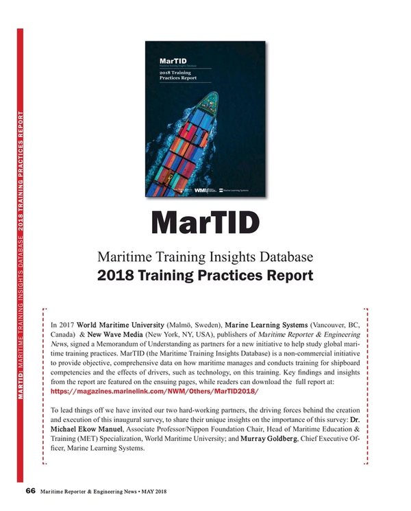 Maritime Reporter Magazine, page 66,  May 2018