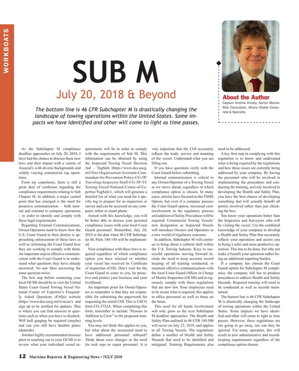 Maritime Reporter Magazine, page 12,  Jul 2018