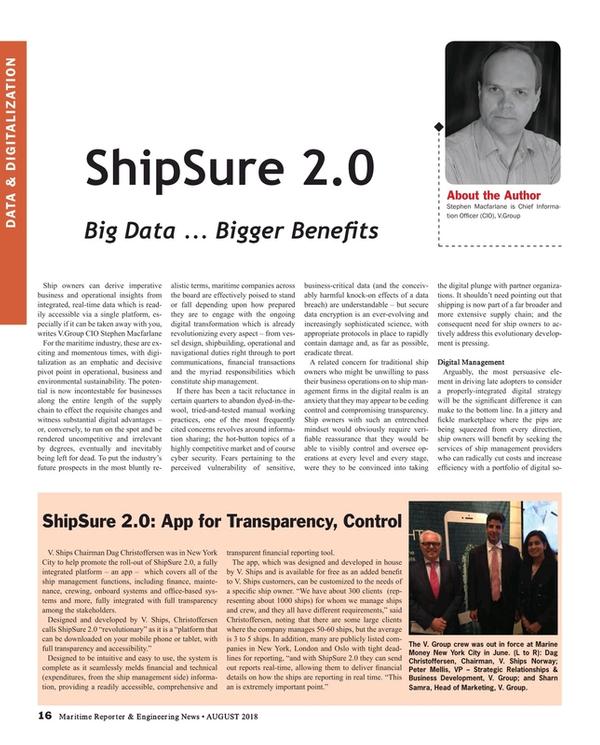 Maritime Reporter Magazine, page 16,  Aug 2018
