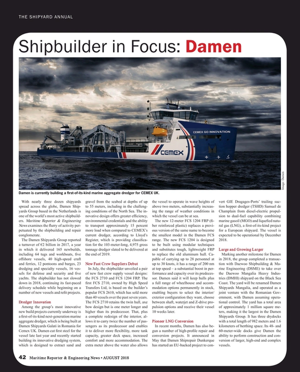 Maritime Reporter Magazine, page 42,  Aug 2018