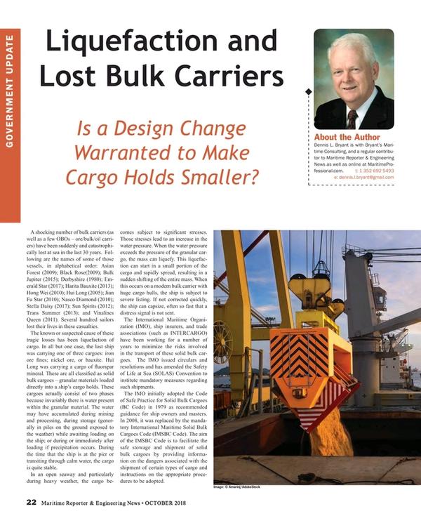 Maritime Reporter Magazine, page 22,  Oct 2018
