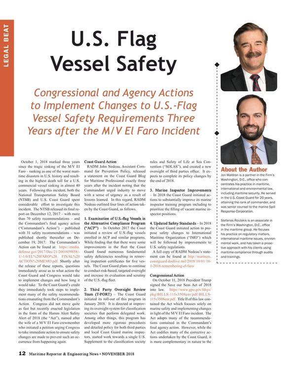 Maritime Reporter Magazine, page 12,  Nov 2018