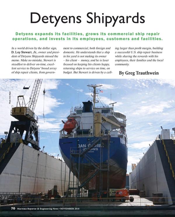 Maritime Reporter Magazine, page 70,  Nov 2018