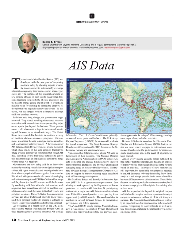 Maritime Reporter Magazine, page 10,  May 2019