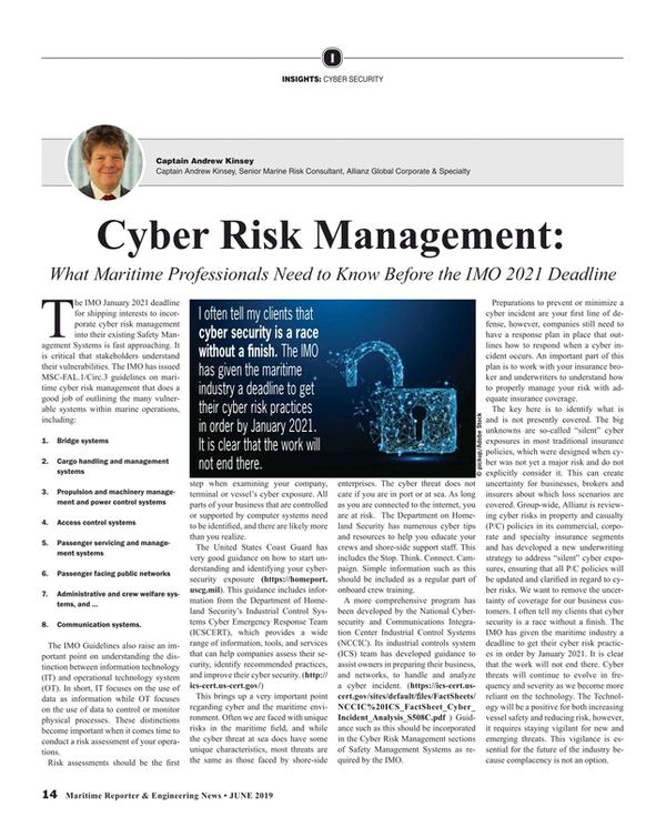 Maritime Reporter Magazine, page 14,  Jun 2019