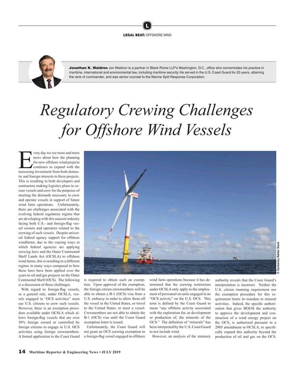Maritime Reporter Magazine, page 14,  Jul 2019