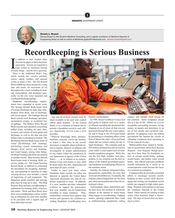 Maritime Reporter Magazine, page 10,  Aug 2019