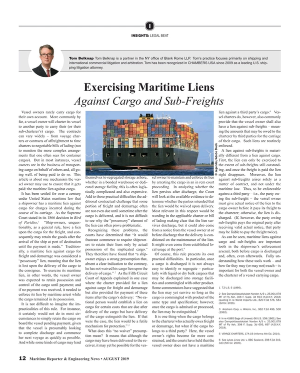 Maritime Reporter Magazine, page 12,  Aug 2019