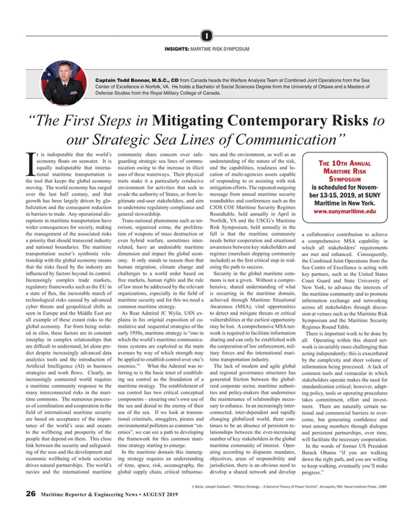 Maritime Reporter Magazine, page 26,  Aug 2019