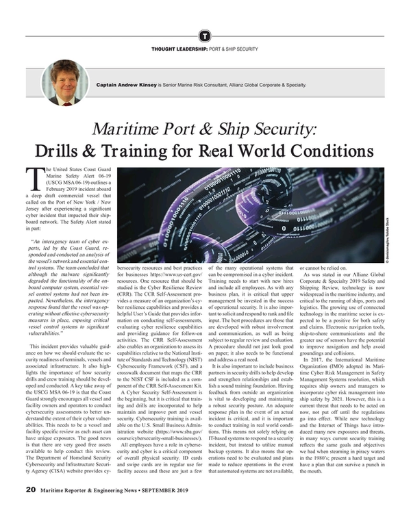 Maritime Reporter Magazine, page 20,  Sep 2019